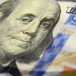 Image of Franklin on one hundred dollar banknote close up with t — Stok fotoğraf #60535561