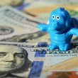 Toy dragon and dollars (inflation, savings, collapse, economic c — Stok fotoğraf #60535573