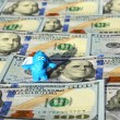 Toy dragon and dollars (inflation, savings, collapse, economic c — Stok fotoğraf #60535593
