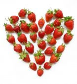 Red heart shaped strawberry (wish-card, valentine, 14 February,  — Stock Photo