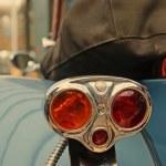 Fine form gray old car with original rear lights close up. Retro — Stock Photo #72778055