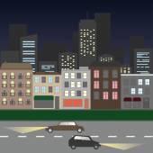 Rua da cidade à noite — Vetor de Stock