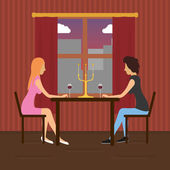 Two lesbian lovers sitting in a cafe and dating — Stock Vector