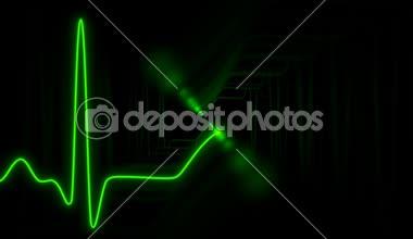 Seamless VJ loop - neon symbol -  ECG curve with ghost effect — Stock Video