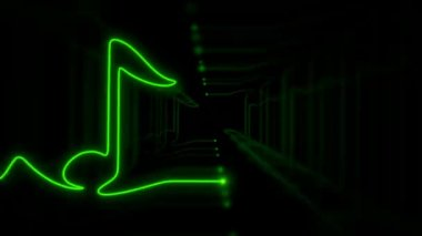 Seamless VJ loop - musical neon symbol - note stylized as ECG with ghost effect — Stock Video