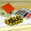 Model of small house, golden coins, graph and calculator — Stock Photo #52706653