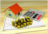 Model of small house, golden coins, graph and calculator — Stockfoto