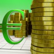 Golden coins and red euro symbol — Stock Photo #52842871