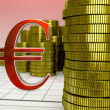 Golden coins and red euro symbol — Stock Photo #52842875