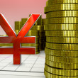 Golden coins and red yen symbol — Stock Photo #53010369
