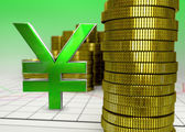 Golden coins and green yen symbol — Stock Photo
