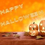 Halloween pumpkin lanterns on orange background — Stock Photo #53561347