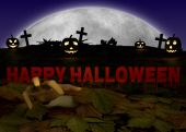 Halloween illustration with pumpkin and zombie hand on cementery — Stock Photo