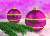 Purple Christmas balloons decorated with spruce twigs — Stockfoto