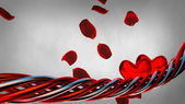 Background with red hearts and petals — Stock Photo