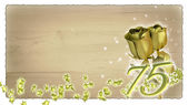 Birthday concept with golden roses and star particles - 75th — Stock Photo