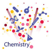 Abstract background with chemical icons — Stock Vector