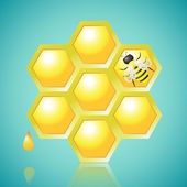 Honeycombs and Bee Vector Illustration — Vettoriale Stock