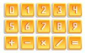 Yellow Numeric Button Set — Stock Vector