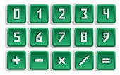 Green Numeric Button Set — Stock Vector