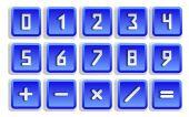 Blue Numeric Button Set — Stock Vector