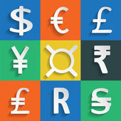 White Paper Currency Signs on colored background — Stock Vector