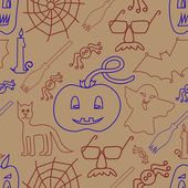 Halloween seamless pattern on beige background — Stock Vector