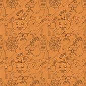 Halloween seamless pattern on orange background — Stock Vector