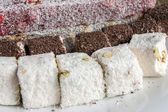 Assorted Turkish Delight bars(Sugar coated soft candy) — Stock Photo