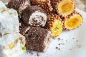 Barras de Manjar Turco sortidas (doces macios revestidos de açúcar) — Fotografia Stock
