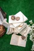 Wedding decoration of books — Stock Photo