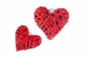 Red wooden heart on a white background — Foto de Stock
