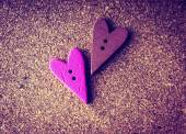 Wooden hearts on a wooden background. vintage style — Stock Photo