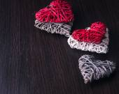 Valentines design - Heart in chains. Love concept on wooden background. — 图库照片