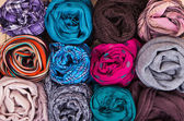 Accessory - Scarfs - Different Textures And Colors — Stock Photo