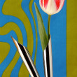 Artificial tulip in metal vases — Stock Photo #51940011