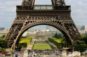 View through Eiffel Tower — Stock Photo