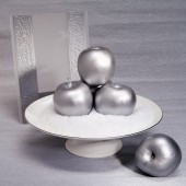 Silver composition. Silver apples and invitation card — Stock Photo