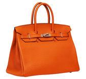 Women's orange leather handbag — Stok fotoğraf
