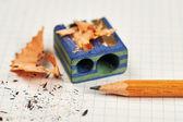 Pencil and pencil sharpener — Stock Photo