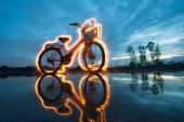 Bicycle light painting — 图库照片