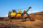 Coal-preparation plant. Big yellow mining truck at work site coa — Stock Photo