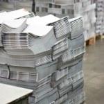 Print shop - Finishing line. Post press finishing line machine: cutting, trimming, paperback — Stock Photo #71232219