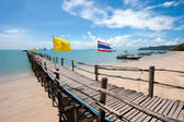 Wood bridge in to the sea Thailand — Stock Photo