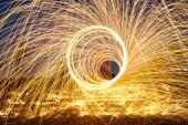 Burning steel wool fireworks — Stock Photo