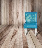 Blue vintage leather chair on perspective wooden floor — Stock Photo