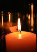 Candle flame at night closeup — Stock Photo