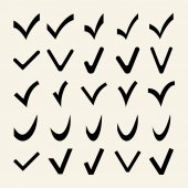 Set of 25 Different Vector Check Marks — Stock Vector