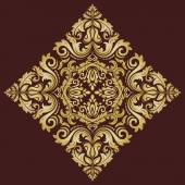 Damask Vector Pattern. Orient Golden Ornament — Stok Vektör