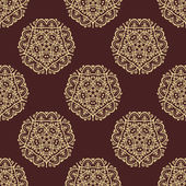 Wallpaper in the style of Baroquen. Abstract Vector Background with Brown and Golden Colors — Stock Vector
